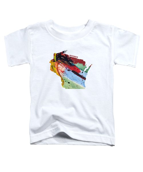 Wisconsin Map Art - Painted Map Of Wisconsin Toddler T-Shirt