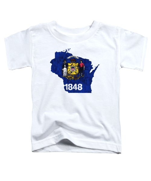 Wisconsin Map Art With Flag Design Toddler T-Shirt