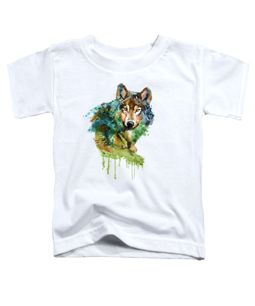 Wolf Face Watercolor Toddler T-Shirt by Marian Voicu