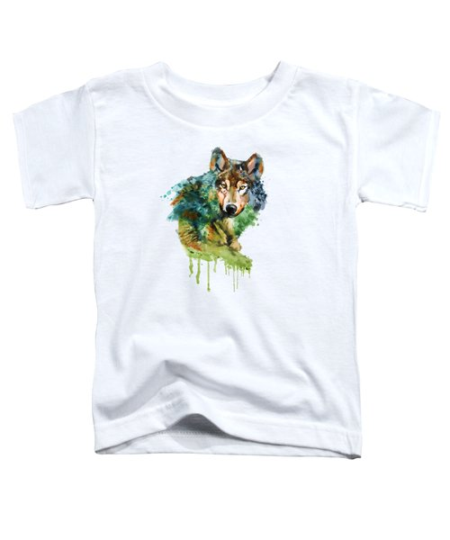 Wolf Face Watercolor Toddler T-Shirt