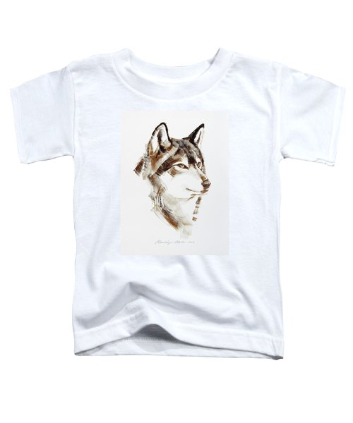 Wolf Head Brush Drawing Toddler T-Shirt