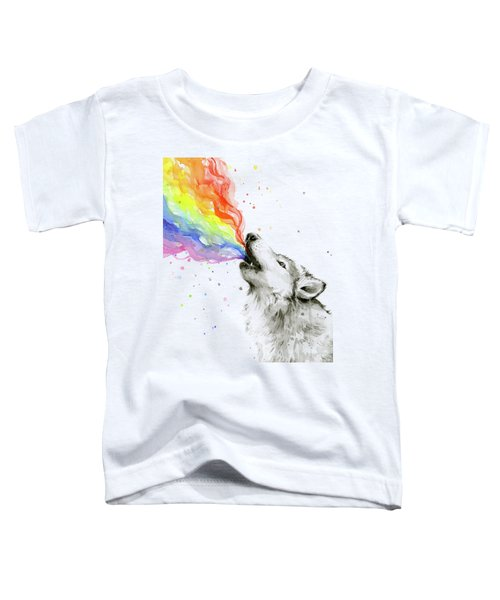 Wolf Rainbow Watercolor Toddler T-Shirt by Olga Shvartsur