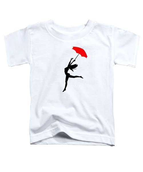 Woman Dancing In The Rain With Red Umbrella Toddler T-Shirt