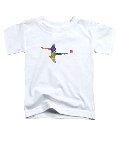 Woman Soccer Player 04 In Watercolor Toddler T-Shirt by Pablo Romero