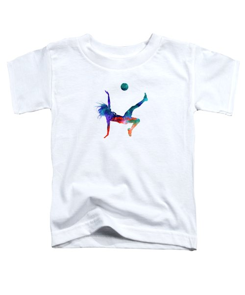 Woman Soccer Player 08 In Watercolor Toddler T-Shirt by Pablo Romero