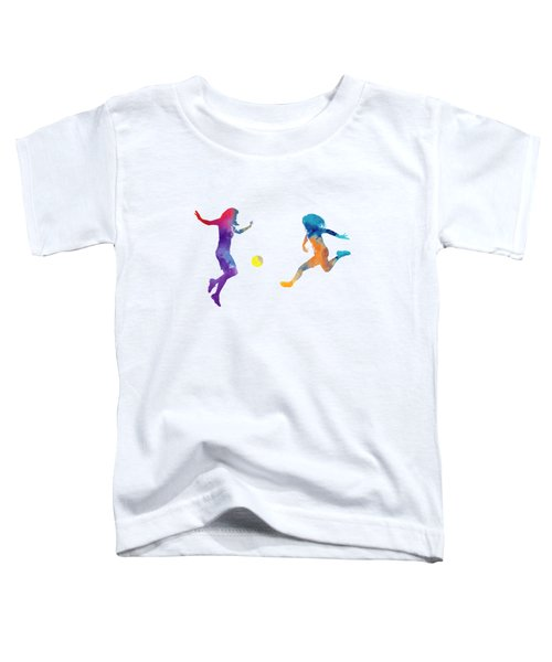 Women Soccer Players 01 In Watercolor Toddler T-Shirt by Pablo Romero