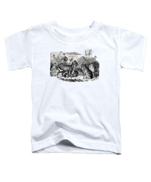 woodcut drawing of South American Maras Toddler T-Shirt