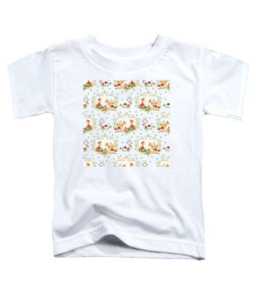 Woodland Fairy Tale - Pink Sweet Animals Fox Deer Rabbit Owl - Half Drop Repeat Toddler T-Shirt