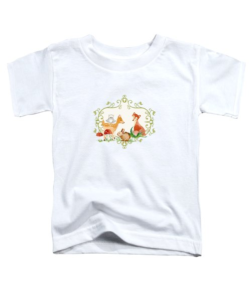 Woodland Fairytale - Grey Animals Deer Owl Fox Bunny N Mushrooms Toddler T-Shirt by Audrey Jeanne Roberts