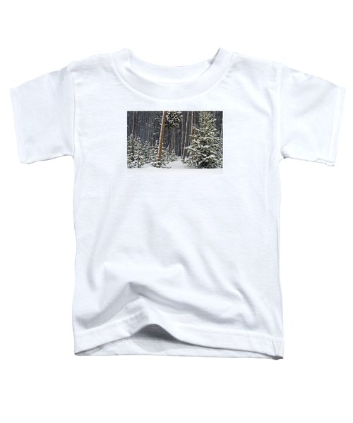 Woodland Snowstorm In Yellowstone Toddler T-Shirt