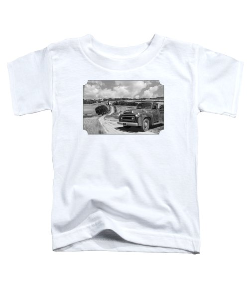 Down On The Farm- International Harvester In Black And White Toddler T-Shirt