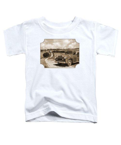 Down On The Fram - International Harvester In Sepia Toddler T-Shirt