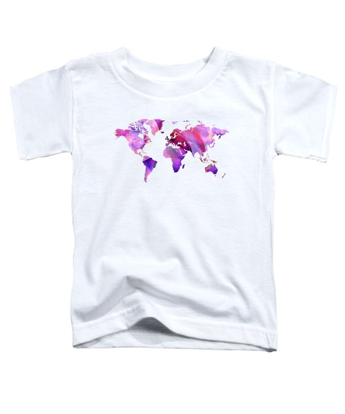 World Map 20 Pink And Purple By Sharon Cummings Toddler T-Shirt