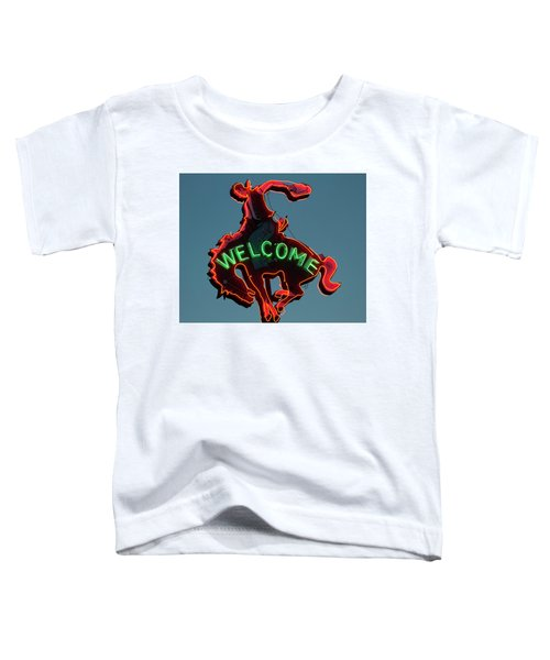 Wyoming Cowboy Vintage Neon Sign Toddler T-Shirt