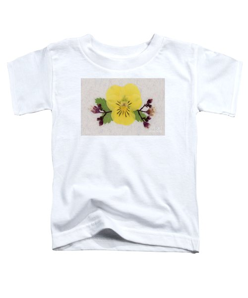 Yellow Pansy And Coral Bells Pressed Flowers Toddler T-Shirt