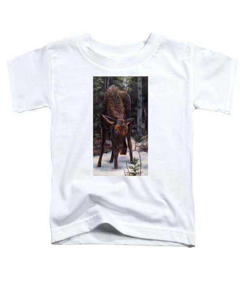 Young Moose And Snowy Forest Springtime In Alaska Wildlife Home Decor Painting Toddler T-Shirt