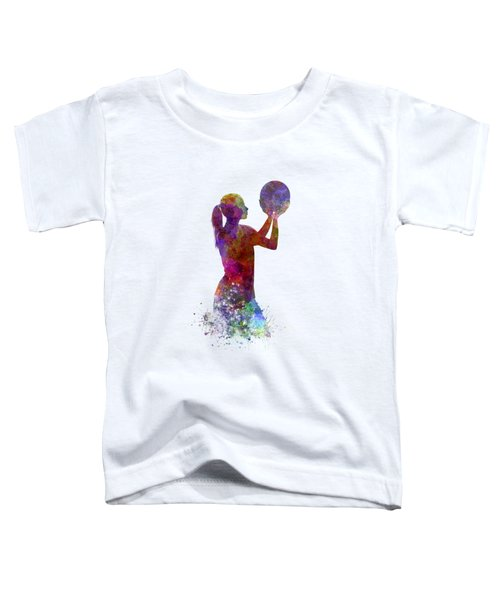 Young Woman Basketball Player 03 In Watercolor Toddler T-Shirt by Pablo Romero