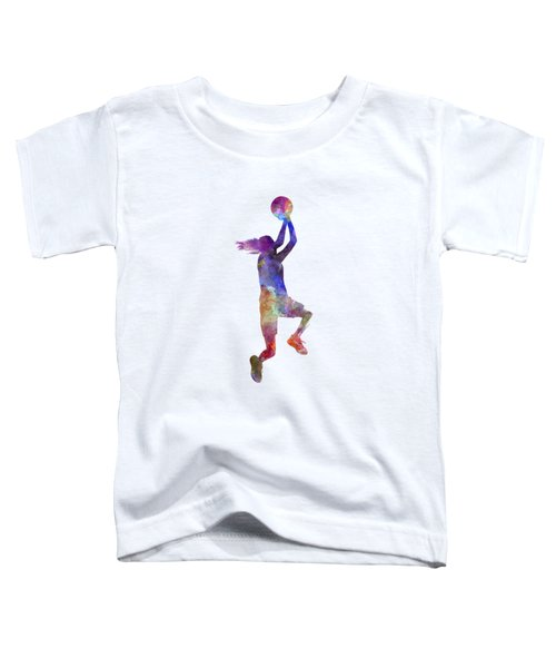 Young Woman Basketball Player 05 In Watercolor Toddler T-Shirt by Pablo Romero