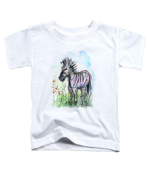 Zebra Painting Watercolor Sketch Toddler T-Shirt by Olga Shvartsur