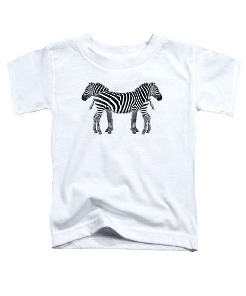 Zebra Pair On Black Toddler T-Shirt by Gill Billington