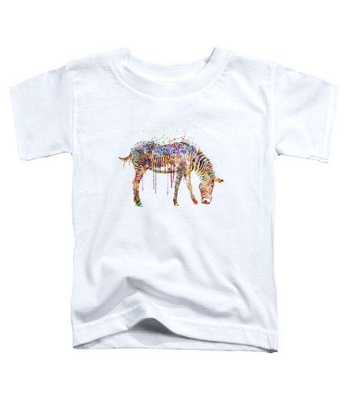Zebra Watercolor Painting Toddler T-Shirt by Marian Voicu