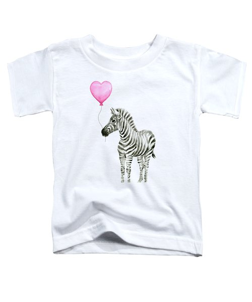 Zebra Watercolor Whimsical Animal With Balloon Toddler T-Shirt