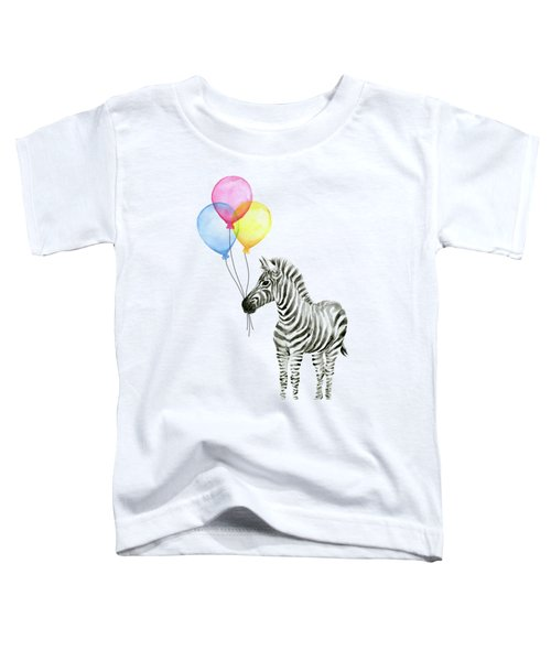 Zebra With Balloons Watercolor Whimsical Animal Toddler T-Shirt by Olga Shvartsur