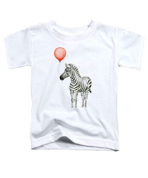 Zebra With Red Balloon Whimsical Baby Animals Toddler T-Shirt by Olga Shvartsur