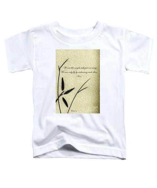 Zen Sumi 4d Antique Motivational Flower Ink On Watercolor Paper By Ricardos Toddler T-Shirt