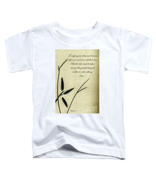 Zen Sumi 4n Antique Motivational Flower Ink On Watercolor Paper By Ricardos Toddler T-Shirt