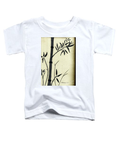 Zen Sumi Antique Bamboo 1a Black Ink On Fine Art Watercolor Paper By Ricardos Toddler T-Shirt