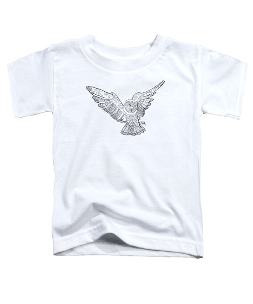 Zentangle Owl In Flight Toddler T-Shirt by Cindy Elsharouni