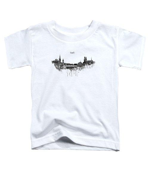Zurich Black And White Skyline Toddler T-Shirt