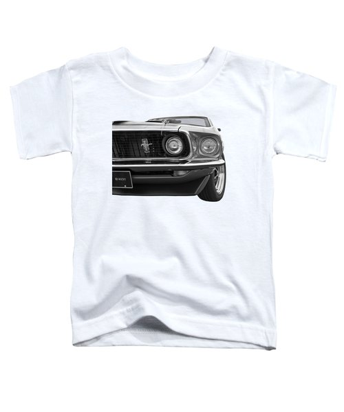 1969 Mustang Mach 1 Black And White Toddler T-Shirt