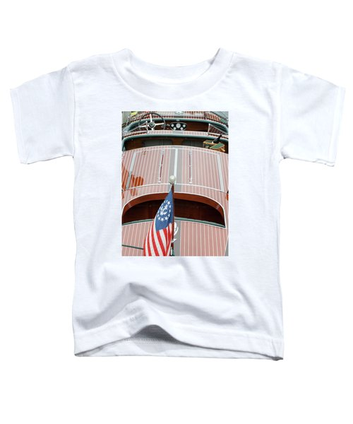 Antique Wooden Boat With Flag 1303 Toddler T-Shirt