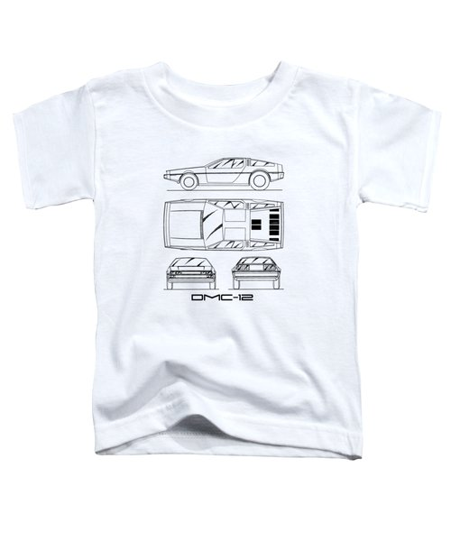 The Delorean Dmc-12 Blueprint - White Toddler T-Shirt