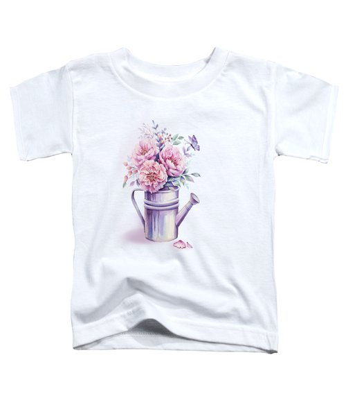Toddler T-Shirt featuring the painting Pink Peonies Blooming Watercolour by Georgeta Blanaru