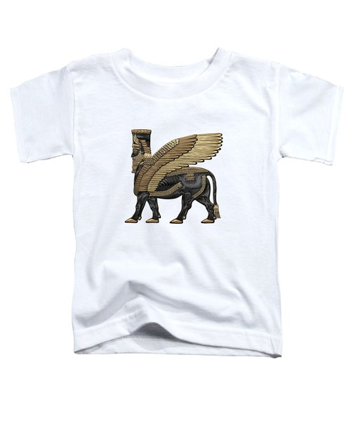 Assyrian Winged Bull - Gold And Black Lamassu Over White Leather Toddler T-Shirt