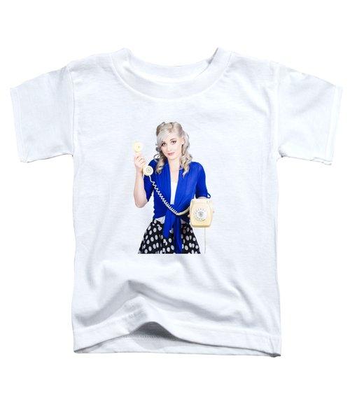 Attractive Blond Female Secretary On Vintage Phone Toddler T-Shirt