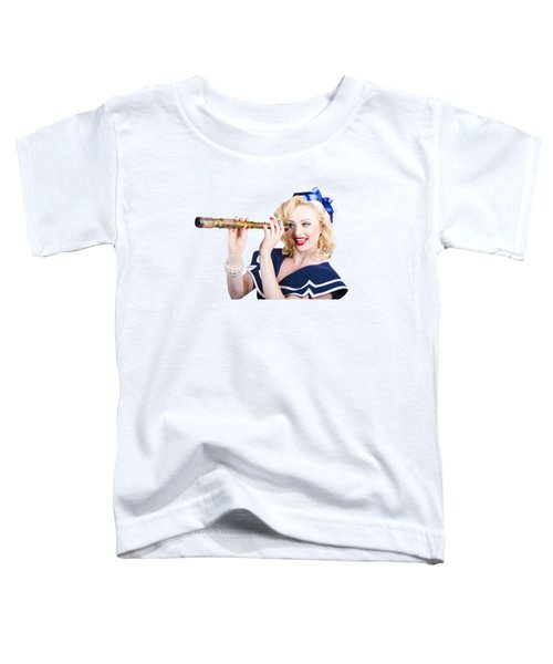 Attractive Pinup Sailor Girl With A Monocular Toddler T-Shirt