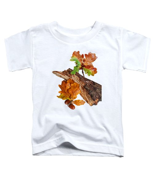 Autumn Oak Leaves And Acorns On White Toddler T-Shirt