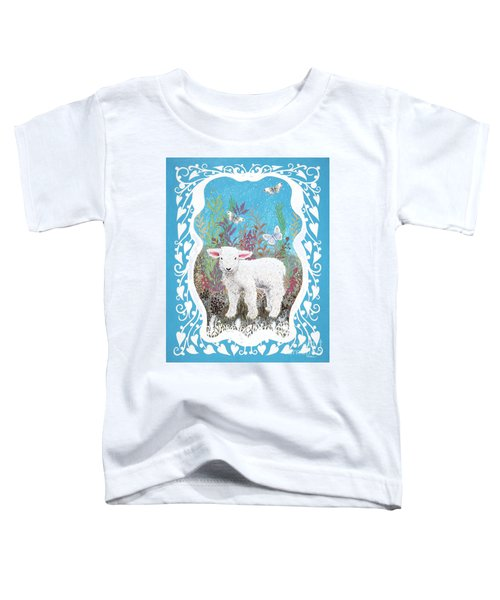 Baby Lamb With White Butterflies Toddler T-Shirt