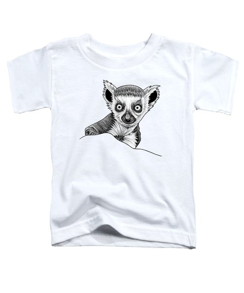 Baby Ring Tailed Lemur - Ink Illustration Toddler T-Shirt
