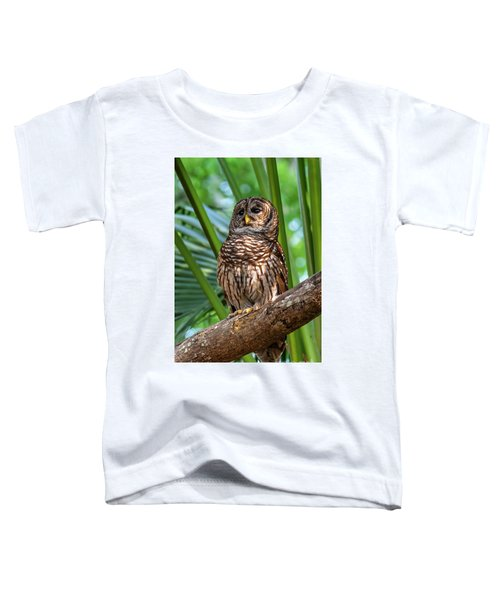 Barred Owl On Perch Toddler T-Shirt