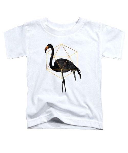 Black Flamingo 6 - Tropical Wall Decor - Flamingo Posters - Exotic, Black, Gold, Modern, Minimal  Toddler T-Shirt