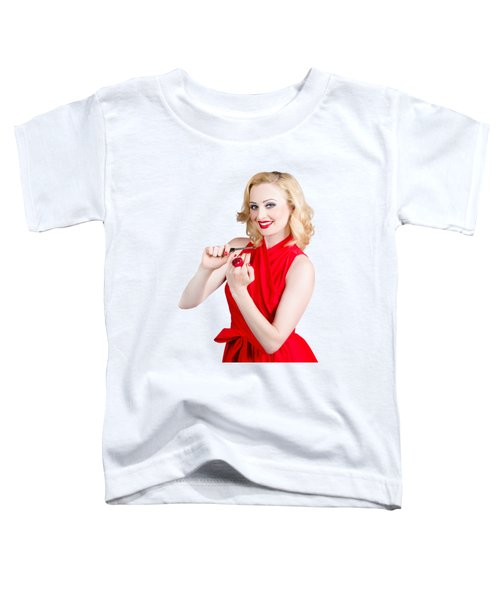 Blond Pinup Woman In Red Dress Making Manicure Toddler T-Shirt