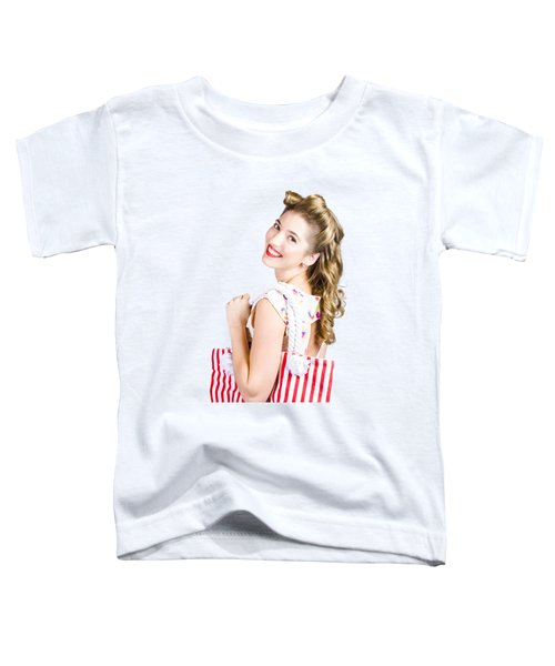 Blonde Style Girl With Shopping Bags On Pink Toddler T-Shirt