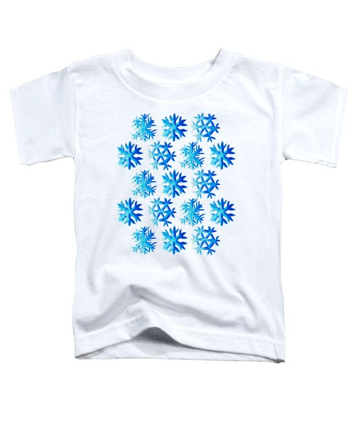 Blue Watercolor Snowflakes Pattern Toddler T-Shirt