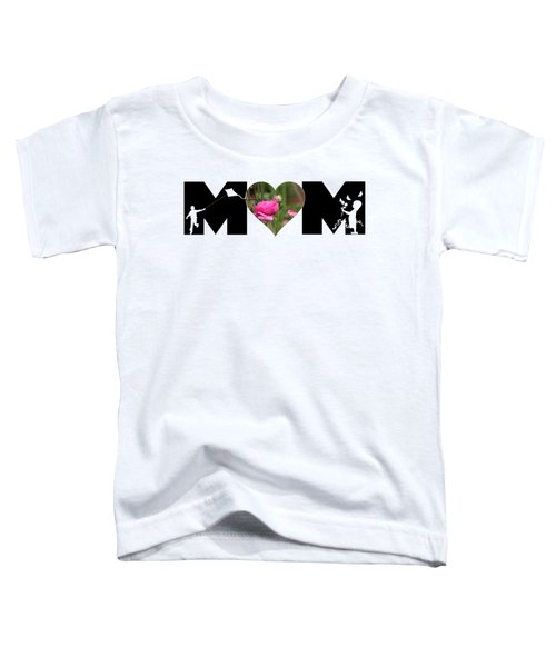 Boy And Girl-pink Ranunculus In Heart Mom Big Letter Toddler T-Shirt