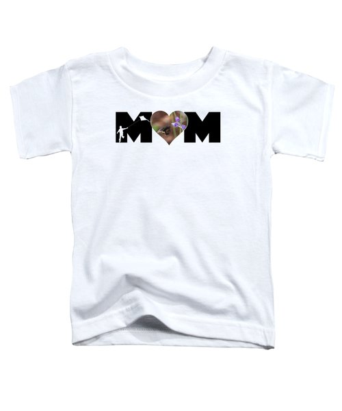 Boy Silhouette And Butterfly On Lavender In Heart Mom Big Letter Toddler T-Shirt